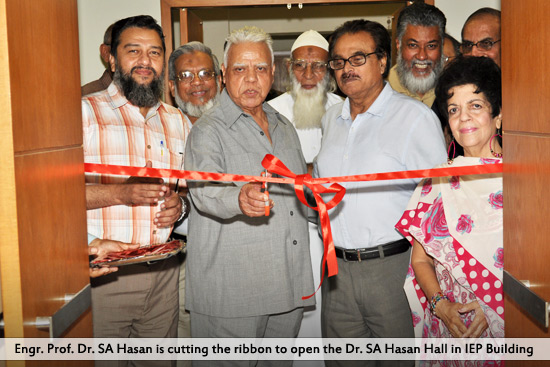 Engr. Prof. Dr. SA Hasan is cutting the ribbon to open the Dr. SA Hasan Hall in IEP Building