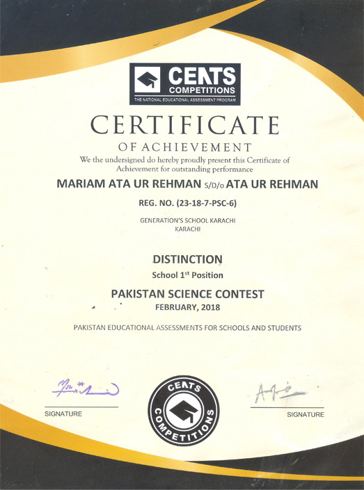Mariam A. Rehman Attains 1st Position in Pakistan Science Contest
