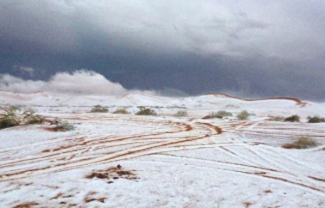 Saudi Arabia Snowfall Turns Desert Sands Powdery White