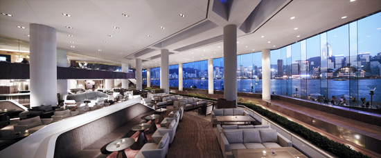 Daytime view of the lobby lounge of the Hong Kong Intercontinental, with Victoria Harbor in the background