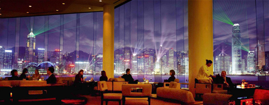 Nightly light show over Victoria Harbor as seen from lobby of the Hong Kong Intercontinental Hotel
