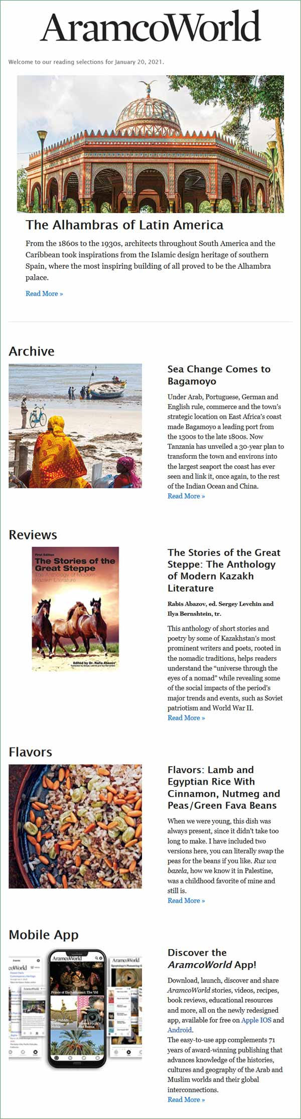 AramcoWorld Reading Selections