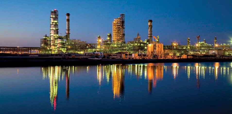 Saudi Aramco Plants at Night