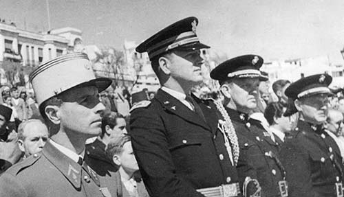 Eddy, second right, at the victory parade in Algiers, 1942