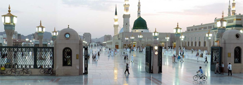 Madina Haram at sunset.