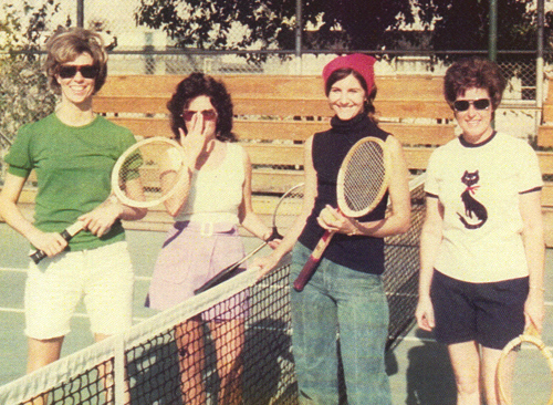 The tennis group: Sandy Adams, Sheila Kaul, Kathi Steindorf, and Colleen Wilson