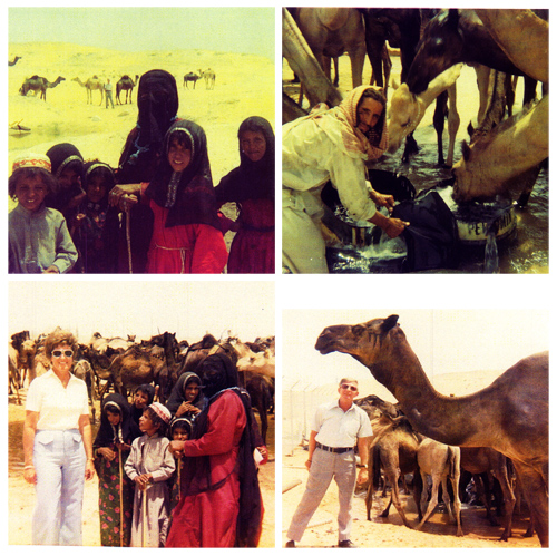 The Wilsons with Bedouins and camels
