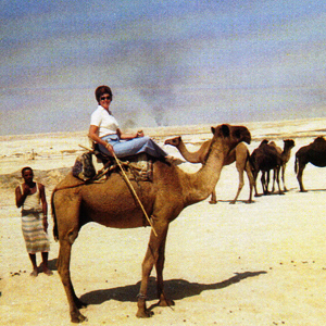 Colleen Wilson riding a camel