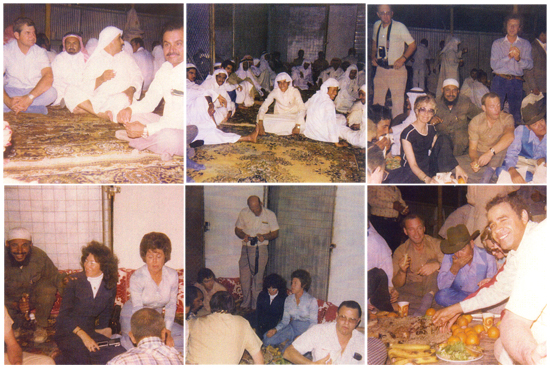 Kabsa, an arab meal where everyone sits on the ground with giant platters of food