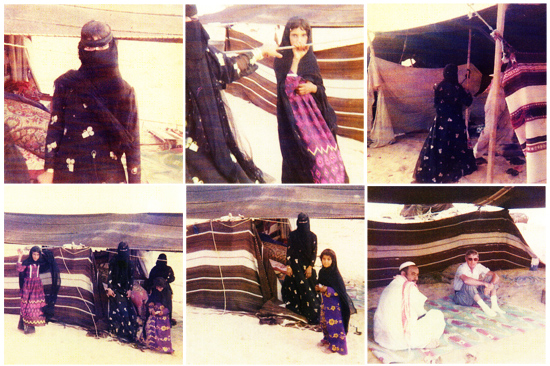 Bedouin families and tents out in the desert, dressed mostly in black and dark purple