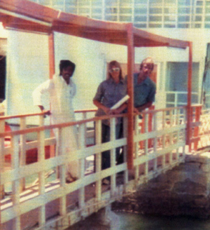 Vicky and Keith with Mohammad on the entrance to the Floating Restaurant in Al-Khobar