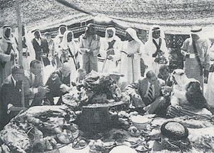 An Arab feast with Aramco executives, early 1950s.