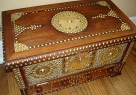 Susan Webster's Arab jewelry chest, similar to her sister's and mother's, showing the intricate brass work on the outside.