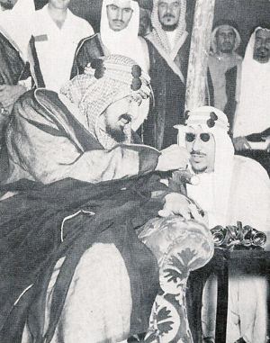 King Ibn Saud, left, with his son, Crown Prince Saud.