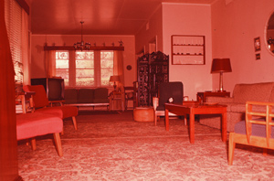 A view of the Webster living room at 1423 Kings Road, Dhahran, late 1950s.