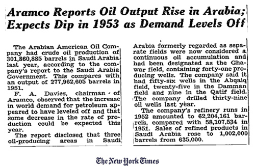 Aramco projections in the New York Times, June 11, 1953.