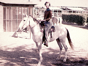 Susan Webster on her horse, Nejma.
