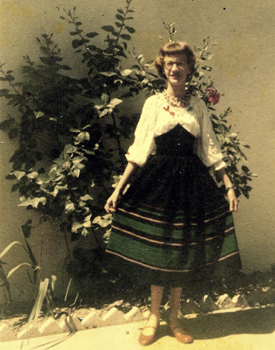 Susan Webster wearing a dance costume in Dhahran, early 1950s.