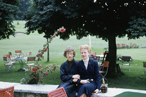 Susan Webster, right, and her sister, Judy, in Switzerland, 1954.