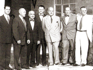 Top Aramco management, photographed in Dhahran, Saudi Arabia, on March 17, 1955.