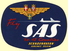 Logo of Scandinavian Airlines, early 1950s.