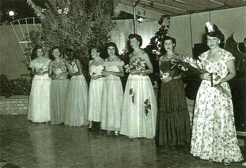 Miss Ras Tanura Contest, 1951. In evening gowns from left: Pedie Kennedy, Olive McDonald, unknown, Margie House, Nona Patton, Colleen Wilson, Darcie Williamson